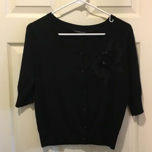 Express Sweaters - Express Cropped Cardigan in Black with Bow, Size M